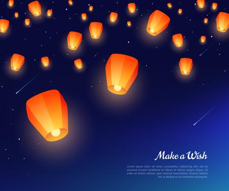 Lanterne di carta arancione che galleggiano di notte nel cielo stellato. Illustrazione vettoriale. Elementi di design tradizionali per il Capodanno cinese o il Mid Autumn Festival.