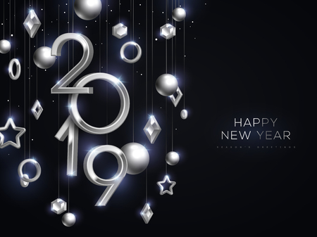 Christmas and New Year banner with hanging silver 3d baubles and 2019 numbers on black background. Vector illustration. Winter holiday geometric decorations. Place for text