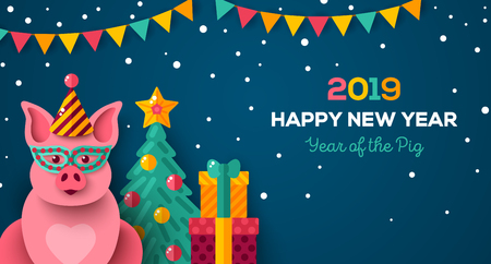 2019 Year of pig - party theme Stock Vector - 110674831