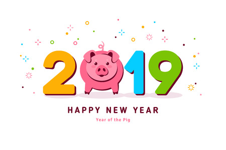 2019 year of pig Illustration