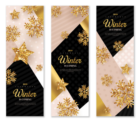 Gold Christmas banners set