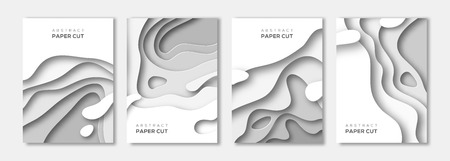 Vertical banners set with 3D abstract background, white paper cut shapes. Vector design layout for business presentations, flyers, posters and invitations. Colorful carving art