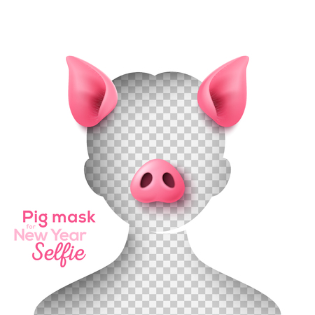 Realistic 3d pig nose and ears