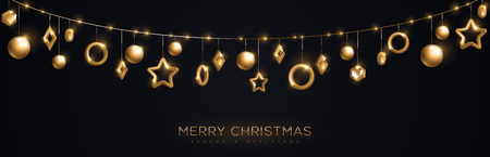 Christmas banner with sparkling gold geometric baubles in garland on black background. Vector Illustration.