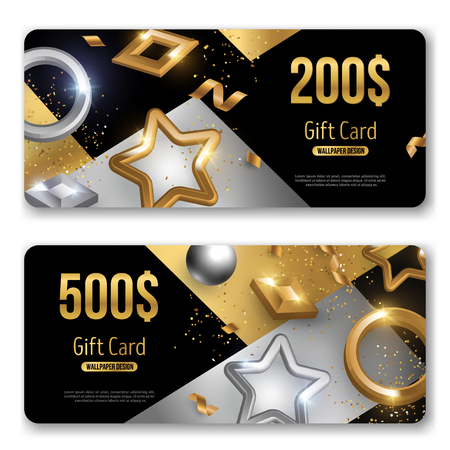 Gift cards set with gold and silver 3d baubles. Vector illustration. Christmas trendy geometric background. Winter template design for posters, flyers, brochures or vouchers.