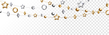 Abstract garland with gold and silver geometric baubles overlay effect on transparent background for Christmas and New Year design. Vector Illustration.