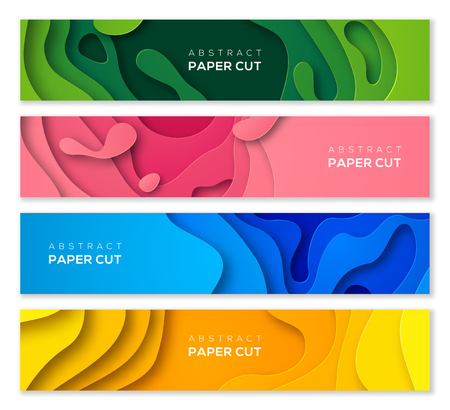Set of horizontal banners in 3D paper cut style for business presentations, flyers, posters and invitations. Colorful carving art. Vector illustration.