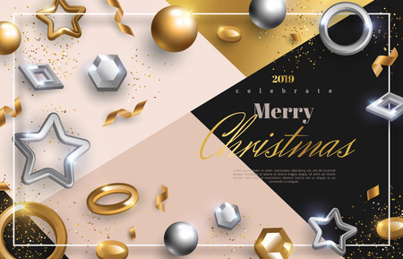 Christmas background with gold and silver 3d baubles. Vector illustration. Square frame with place for text on trendy geometric backdrop. Winter template design for posters, brochures or vouchers.