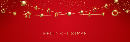 Christmas banner with sparkling gold geometric baubles in garland on red background. Vector Illustration. Illustration