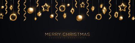 Banner de feliz Navidad con adornos geométricos dorados brillantes y serpentinas sobre fondo negro. Ilustración de vector.