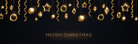 Merry Christmas banner with sparkling gold geometric baubles and streamers on black background. Vector Illustration.