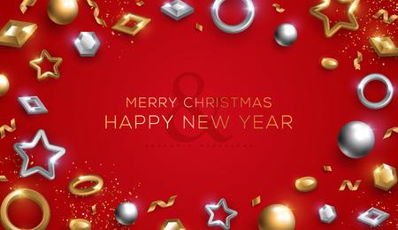 Cartel de Navidad y año nuevo con adornos de oro y plata 3d sobre fondo rojo. Ilustración vectorial. Invitación de vacaciones de invierno con decoraciones geométricas