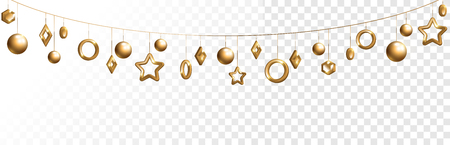 Abstract garland with gold geometric baubles overlay effect on transparent background for Christmas and New Year design. Vector Illustration. Illustration
