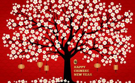 Kirschblütenhintergrund mit weißem Sakura-Baum und asiatischen Laternen auf Rot für chinesisches Neujahrsdesign. Vektor-Illustration. Hieroglyphenübersetzung - Segen, viel Glück.