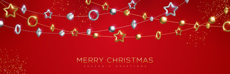 Christmas and New Year banner with sparkling gold and silver geometric baubles in garland on red background. Vector Illustration.