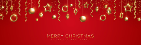 Merry Christmas banner with sparkling gold geometric baubles and streamers on red background. Vector Illustration. Stock Illustratie