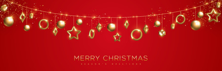 Merry Christmas banner with sparkling gold geometric baubles on red background. Vector Illustration.