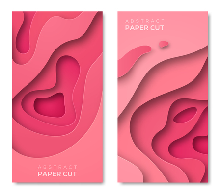 Vertical banners with 3D abstract pink background with paper cut shapes. Vector design layout for business presentations, flyers, posters and invitations. Colorful carving art Ilustração