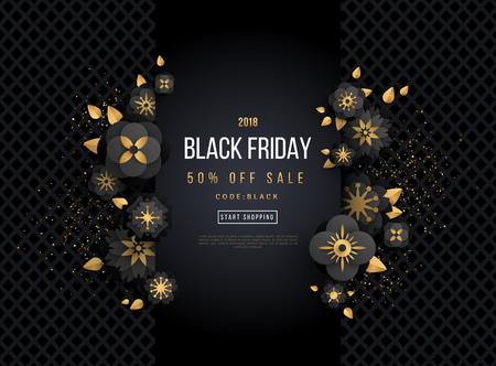 Black Friday Sale Poster with Black and Gold Flowers on Dark Background. Vector illustration.