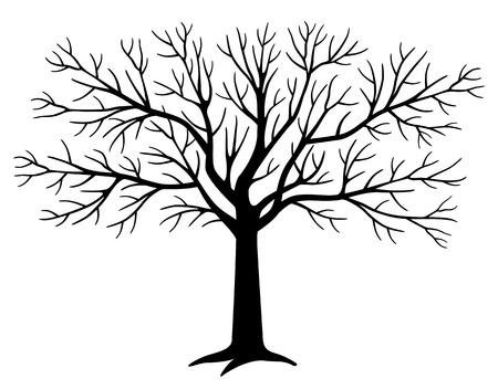 Schwarze Baumschattenbild Vektorgrafik