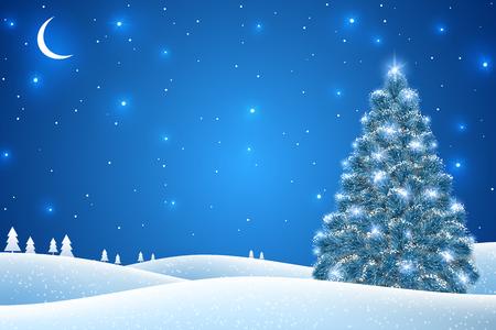 Paesaggio invernale con abete nella neve per 2019 Felice Anno Nuovo e Buon Natale Design. Illustrazione vettoriale. Notte nella foresta con stelle e mezzaluna Vettoriali