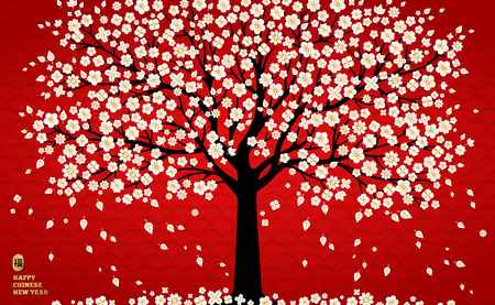 Cherry blossom background with white sakura tree on red for Chinese New Year design. Vector illustration. Hieroglyph translation - blessing, good luck.