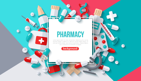 Pharmacy Banner With Square Frame Stock fotó - 118849376