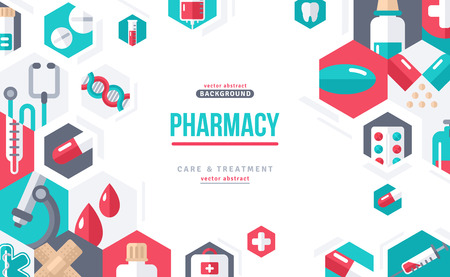 Pharmacy Banner Icons in Hexagons 일러스트