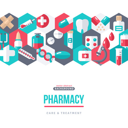 Pharmacy Banner Icons in Hexagons Ilustrace