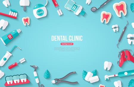 Zahnmedizin-Fahne mit flachen Ikonen auf blauem Hintergrund. Vektor-Illustration. Zahnmedizinischer Konzeptrahmen. Gesunde saubere Zähne. Zahnarzt Werkzeuge und Ausrüstung.