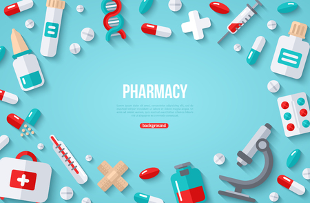 Pharmacy Banner With Flat Icon Illustration