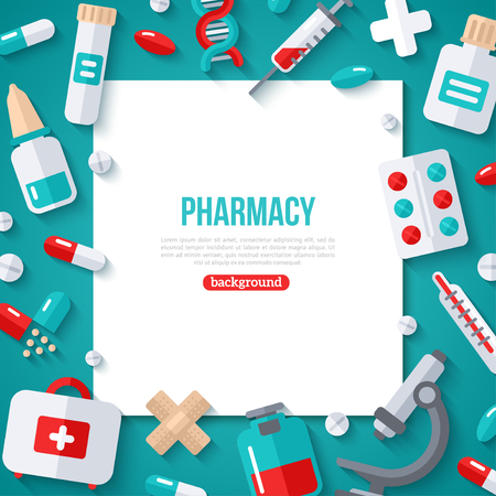 Pharmacy Banner Flat Icons Archivio Fotografico - 118849381