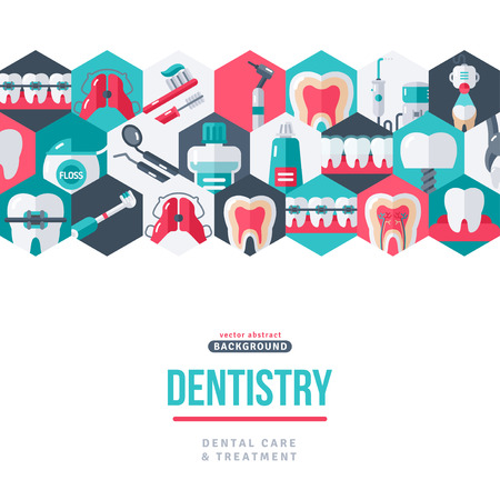 Dentistry tooth care creative banner. Vector illustration. Dental icons in hexagons, border on white background. Healthy Clean Teeth. Dentist Tools and Equipment. Standard-Bild - 113563206