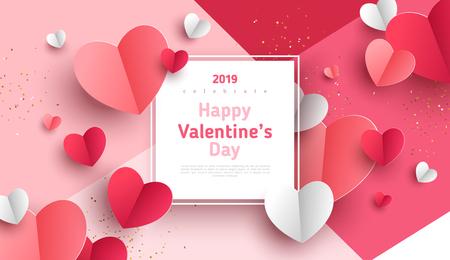 Fondo del concepto de día de San Valentín. Ilustración de vector. Corazones de papel rojo y rosa 3d con marco cuadrado blanco. Banner de venta de amor lindo o tarjeta de felicitación