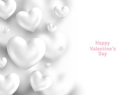 White Valentine's Day background, 3d hearts on bright backdrop. Vector illustration. Cute love banner or greeting card. Place for text