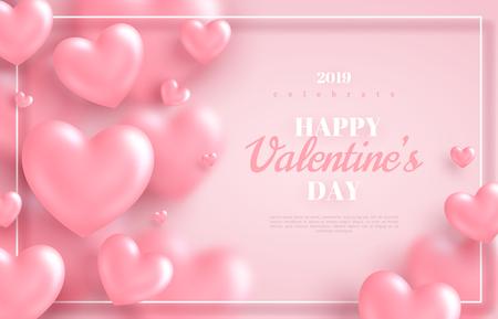 Fond rose de la Saint-Valentin, coeurs 3d sur fond lumineux. Illustration vectorielle. Bannière d'amour mignon ou carte de voeux. Place pour le texte