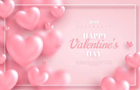 Fondo rosado del día de San Valentín, corazones 3d sobre fondo brillante. Ilustración vectorial. Banner de amor lindo o tarjeta de felicitación. Lugar para el texto