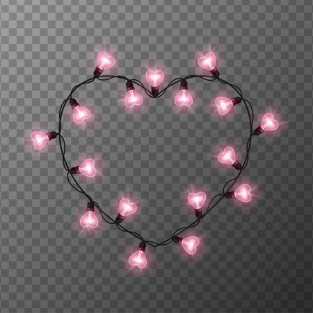 Pink light bulbs in heart shaped frame on transparent background. Holiday illumination made of garland wire for Happy Saint Valentines day