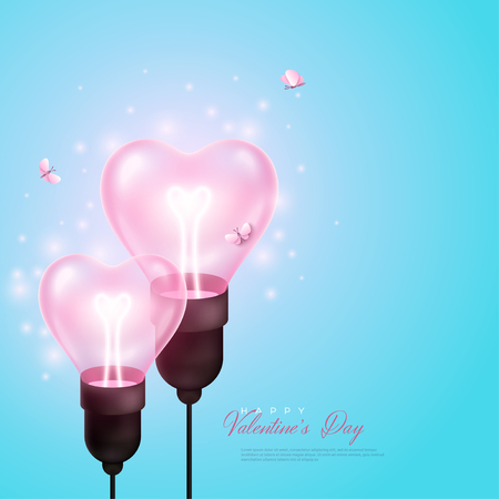 Abstract love concept for Valentines day. Two pink heart shaped light bulbs and small butterflies on blue background. Ilustrace