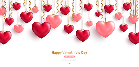 Happy Saint Valentine's day card, hanging pink and red hearts with gold streamers on white background. Place for text.