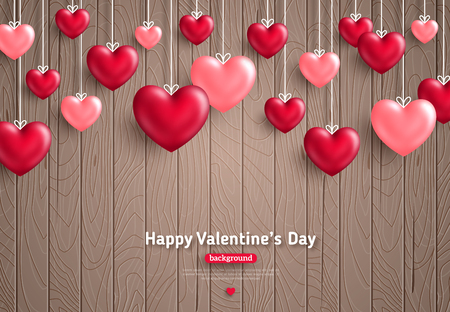 Happy Saint Valentines day card, hanging hearts on brown wooden background with place for text. Illustration