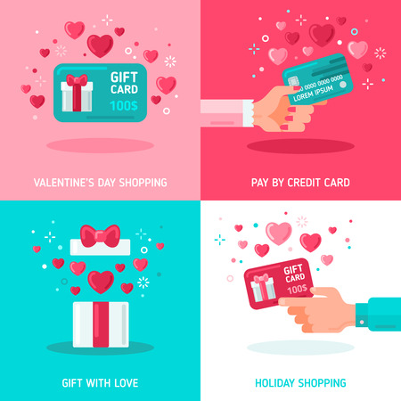 Flat Design Concepts about Gift Cards on Valentines Day. Man and Woman Hands Holding Coupon, Box with Open Top and Hearts, Surprise. Holiday Shopping