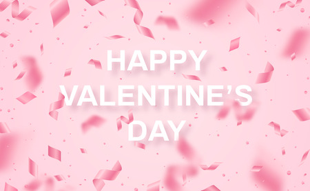 Falling shiny rose colored confetti and pieces of serpentine on pink background for Happy Valentines Day.