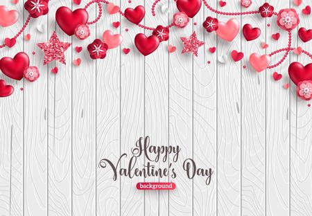 Tarjeta de feliz día de San Valentín, borde horizontal de objetos de vacaciones sobre fondo de madera. Corazones brillantes, estrellas y flores.