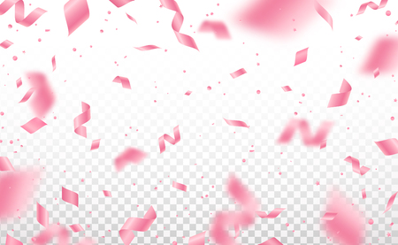 Falling shiny pink confetti and pieces of serpentine isolated on transparent background. Bright festive overlay effect with rose colored tinsels
