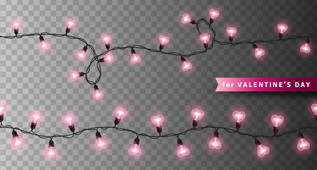 Pink heart shaped lights isolated on transparent background. Glowing bulbs for Happy Valentines Day Design. Seamless garlands for holiday party