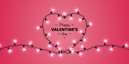Happy Saint Valentines day card with heart shaped light bulbs on pink background. Holiday illuminated frame made of garland wire