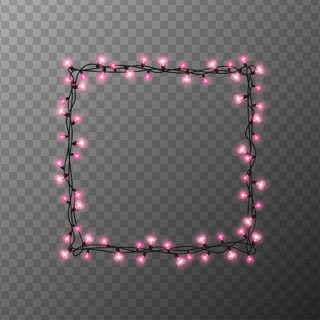Pink heart shaped light bulbs square frame on transparent background. Holiday illumination made of garland wire for Happy Saint Valentines day
