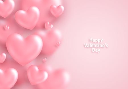 Roze Valentijnsdag achtergrond, 3d harten op lichte achtergrond. Vector illustratie. Leuke liefdebanner of wenskaart. Plaats voor tekst