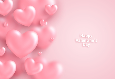 Pink Valentines Day background, 3d hearts on bright backdrop. Vector illustration. Cute love banner or greeting card. Place for text